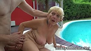 Granny, Hardcore, Blowjob, Outdoor, Blonde, High definition, Grandmother