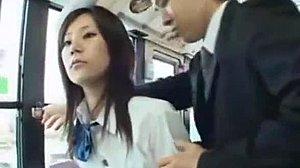Rauh Japanisch Gangbang Bus